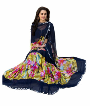 Swaraaa Blue Georgette Printed Saree With Readymade Border With Georgette Blouse
