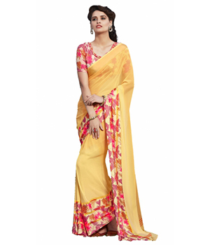Swaraaa Yellow Faux Georgette Printed Saree With Unstiched Blouse