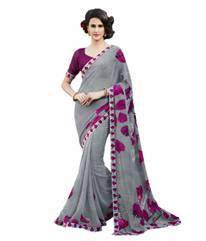 Swaraaa Grey Faux Georgette Printed Saree With Unstiched Blouse