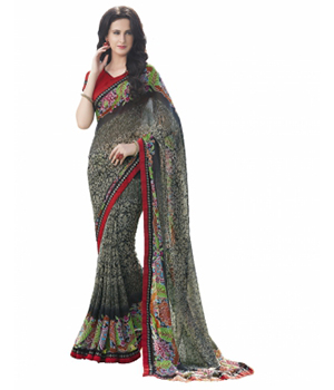 Swaraaa Black Faux Georgette Printed Saree With Unstiched Blouse