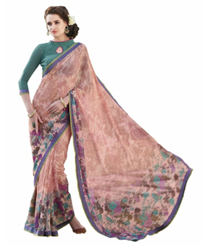 Swaraaa Pink Faux Georgette Printed Saree With Unstiched Blouse
