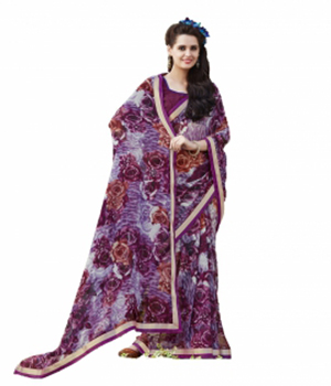 Swaraaa Purple Faux Georgette Printed Saree With Unstiched Blouse