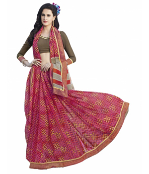 Swaraaa Red Faux Georgette Printed Saree With Unstiched Blouse
