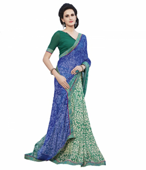 Swaraaa Blue Half Georgette Half Tissue Printed Saree With Unstiched Blouse
