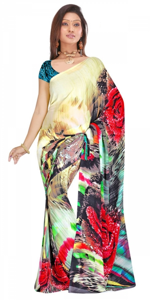 Swaraaa Offwhite Weightless Georgettre Printed Saree With Unstiched Blouse
