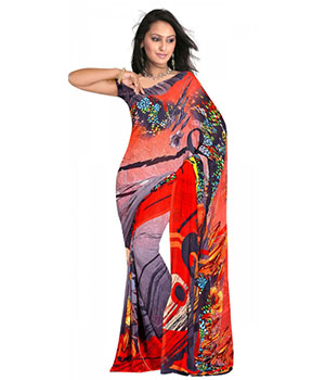 Swaraaa Red Weightless Georgettre Printed Saree With Unstiched Blouse