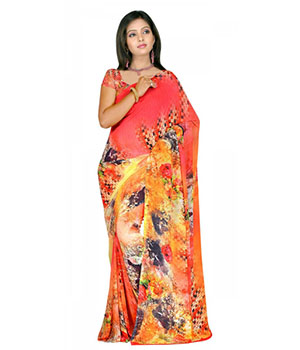 Swaraaa Pink Weightless Georgettre Printed Saree With Unstiched Blouse