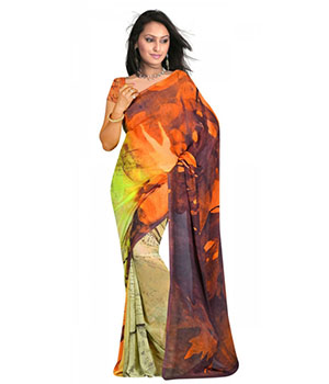 Swaraaa C-Green Weightless Georgettre Printed Saree With Unstiched Blouse