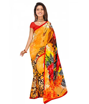 Swaraaa Orange Weightless Georgettre Printed Saree With Unstiched Blouse