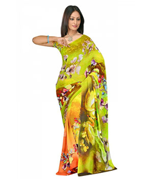 Swaraaa Green Weightless Georgette Printed Saree With Unstiched Blouse