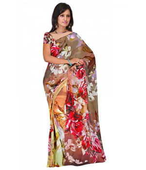 Swaraaa Brown Weightles Georgette Printed Saree With Unstiched Blouse