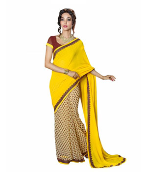 Swaraaa Yellow Georgette Printed Saree With Bhagalpuri Blouse
