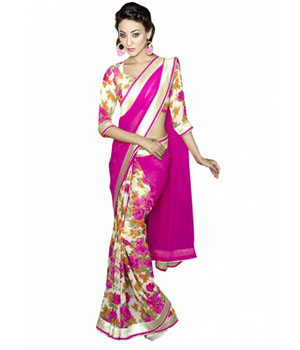 Swaraaa Pink Georgette Printed Saree With Bhagalpuri Blouse