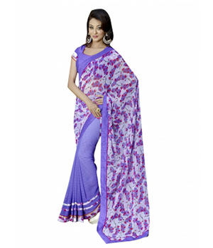 Swaraaa Blue Georgette Printed Saree With Bhagalpuri Blouse