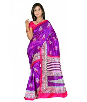 Swaraaa Purple Colour Chapa Silk Saree With Unstiched Blouse