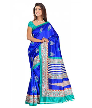 Swaraaa Blue Colour Chapa Silk Saree With Unstiched Blouse