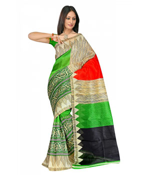 Swaraaa Green Colour Chapa Silk Saree With Unstiched Blouse