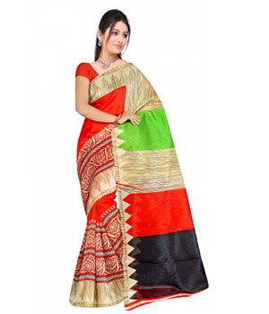 Swaraaa Red Colour Chapa Silk Saree With Unstiched Blouse