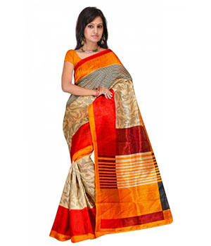 Swaraaa Gold Colour Chapa Silk Saree With Unstiched Blouse