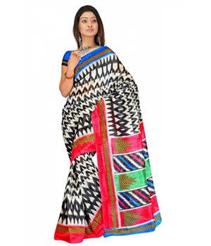 Swaraa Black And White Colour Chapa Silk Saree With Unstiched Blouse