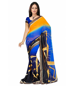 Swaraaa Blue Georgette Printed Saree With Running Blouse