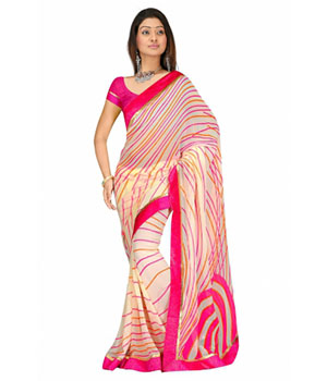 Swaraaa Pink Georgette Printed Saree With Running Blouse