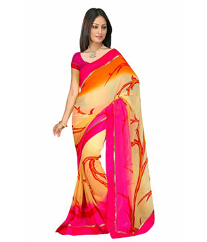 Swaraaa Off White Georgette Printed Saree With Running Blouse