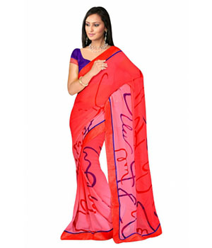 Swaraaa Red Georgette Printed Saree With Running Blouse
