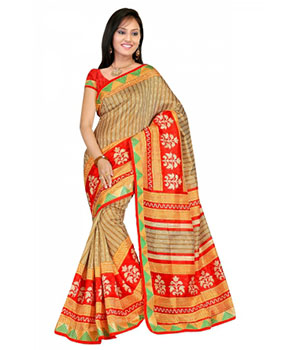 Swaraaa Chiku Bhagalpuri Silk Printed Saree With Running Blouse