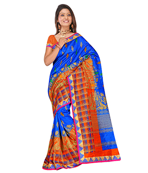 Swaraaa Blue Raaga Silk Saree With Unstiched Blouse