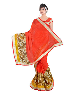 Swaraaa Red Georgette Saree With Running Unstiched Blouse