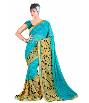 Swaraaa Blue Georgette Saree With Running Unstiched Blouse