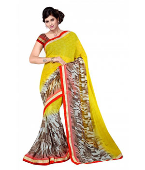 Swaraaa Yellow Georgette Saree With Running Unstiched Blouse