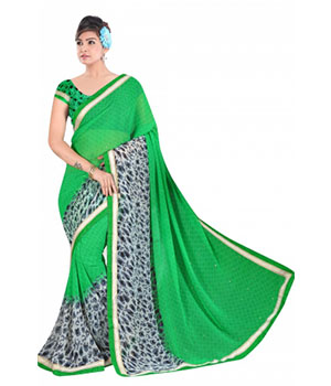 Swaraaa Green Georgette Saree With Running Unstiched Blouse