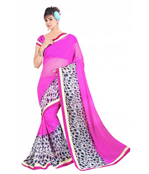 Swaraaa Pink Georgette Saree With Running Unstiched Blouse