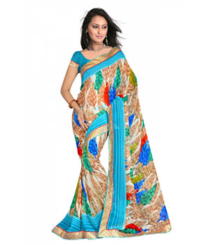 Swaraaa Blue Royal Georgette Saree With Unstiched Blouse