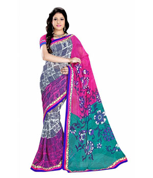 Swaraaa Rani Royal Georgette Saree With Unstiched Blouse