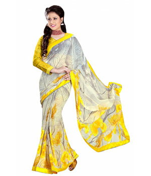 Swaraaa Yellow Royal Georgette Saree With Unstiched Blouse