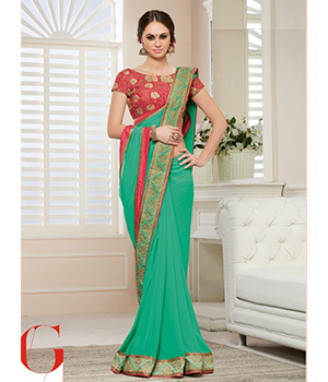 Shoponbit Newest Green Red Heavy Embroidered Blouse Saree SHVR-2052