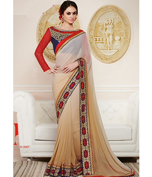 Shoponbit Cream Color Designer Blouse Lace Work Saree SHVR-2057