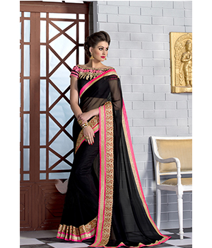 Shoponbit Latest Black With Embroidered Lace Work Party Wear Saree SHVR-2107