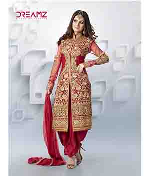 Shoponbit Party Wear Full Embroidered Red Color Salwar Suit SHDM-Red