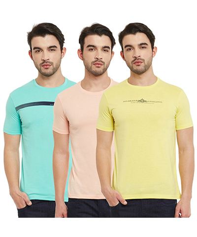 Duke Mens T-Shirt Multi Color VP50-Forest Pack Of 3