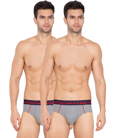 Jockey Bold Brief US14 Midgrey Melange Pack Of 2