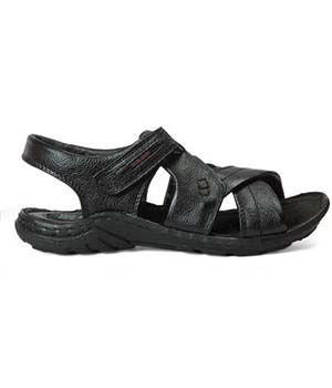 Red Chief RC0375 Leather Sandals-BLACK