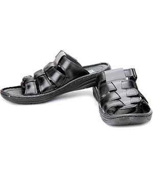 Red Chief RC1082 Leather Sandals-BLACK