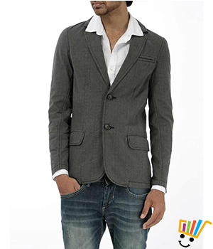Basics Casual Checked Coffee 100% Cotton Slim Blazer  11BBZ24951