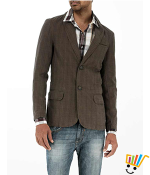 Basics Casual Checked Mid Brown 100% Cotton Slim Blazer  11BBZ24954