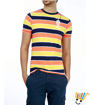 Probase Casual Striped Orange 100% Cotton Slim T.Shirt  11PTS26048