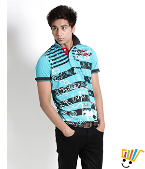 Probase Casual Printed Aqua 100% Cotton Slim T.Shirt Ancestory 12PTS28313